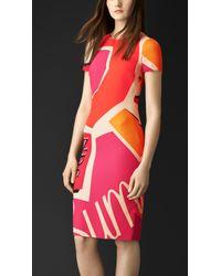 Burberry Book Cover Print Silk Dress - Lyst