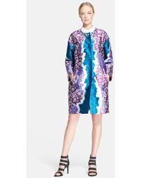 Peter Pilotto Women'S Mixed Print Silk Twill Coat - Lyst
