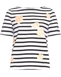 Band of Outsiders Striped And Rose-Print Jersey Top - Lyst