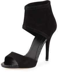 B Brian Atwood Correns Suede Ankleband Sandal Black 380b80b - Lyst