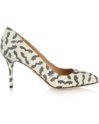 Charlotte Olympia Desiree Bat-print Suede Pumps - Lyst