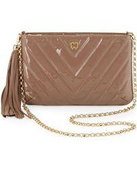 Eric Javits Mimi Patent Tassel Clutch Bag brown - Lyst