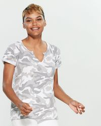Cable & Gauge White & Gray Camouflage Short Sleeve Tee