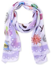 Boutique Moschino - Lilac Printed Silk Scarf - Lyst