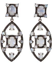 Bavna - Sterling Silver Moonstone & Black Spinel Drop Earrings - Lyst
