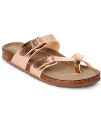 25f708106ad617 Madden Girl - Rose Gold Bryceee Footbed Sandals - Lyst