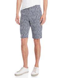 Le Mont St Michel - Navy & White Jacquard Shorts - Lyst