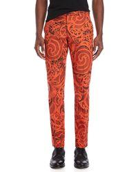 Versace - Printed Slim Fit Pants - Lyst