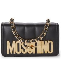 Moschino | Black Skeleton Quilted Leather Shoulder Bag | Lyst