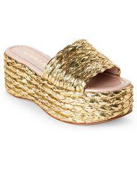 Aperlai - Gold Silver & Gold Metallic Braided Platform Slide Sandals - Lyst