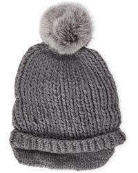Surell - Slouchy Real Fur Pom Pom Hat - Lyst