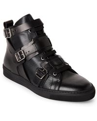 Louis Leeman - Black Leather High-top Buckle Sneakers - Lyst
