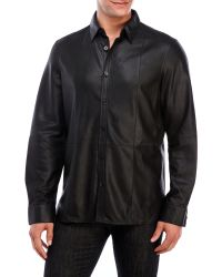 Kenneth Cole - Long Sleeve Leather Shirt - Lyst