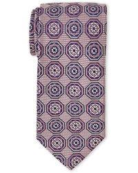 Guy Laroche - Pink & Navy Floral-Print Silk Tie - Lyst