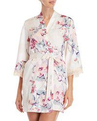 In Bloom - Floral Satin Short Robe - Lyst