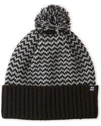 Block Headwear - Black & Grey Chevron Knit Pom-Pom Beanie - Lyst