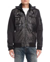 Desigual - Hooded Faux Leather Bomber Jacket - Lyst
