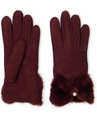 UGG - Bow Shorty Sheepskin Gloves - Lyst