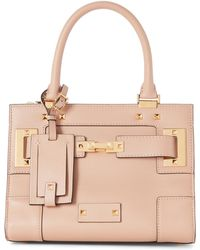 Valentino - Beige Rockstud Small Leather Satchel - Lyst