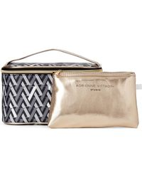 3ab3a8eaed84 Lyst - Adrienne Vittadini Square 3-Piece Cosmetic Bag Set in Gray