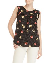Premise Studio - Floral Dot Sleeveless Ruffle Top - Lyst