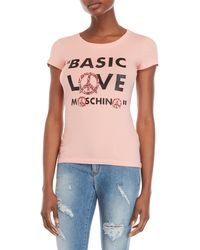 Love Moschino - Embellished Graphic Logo Tee - Lyst