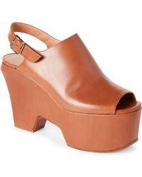 Dries Van Noten - Leather Slingback Platform Wedge Sandals - Lyst