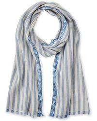 Versace - Striped Linen-blend Scarf - Lyst