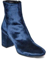 Balenciaga - Blue Velvet Block Heel Booties - Lyst
