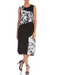 D'deMOO - Printed Panel Midi Dress - Lyst