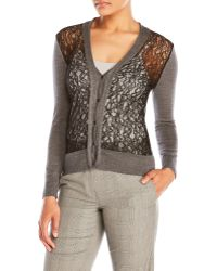 Sharon Wauchob - V-Neck Lace Front Cardigan - Lyst