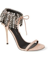 Giuseppe Zanotti - Pink Mistico Suede Crystal Ankle Wrap Sandals - Lyst