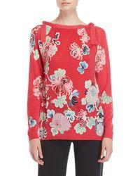 Leonard - Printed Tie-neck Cashmere Sweater - Lyst