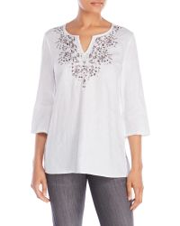 Symple NYC - Split V-Neck Embroidered Linen Tunic - Lyst