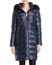 DKNY - Faux Fur Trim Hooded Longline Coat - Lyst