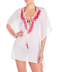Spiaggia Dolce - Tassel Sheer Tunic Cover-Up - Lyst