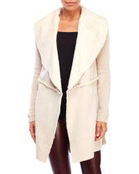 Cliche - Faux Shearling Sweater Jacket - Lyst