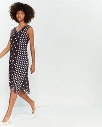 T Tahari Polka Dot V-neck Midi Dress
