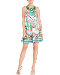 Peach Puff - Floral Print Scuba Skater Dress - Lyst