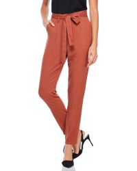 She + Sky - Belted Pleated Pants - Lyst