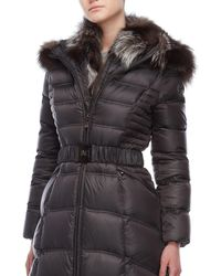 Dawn Levy - Real Fur Collar Belted Down Coat - Lyst