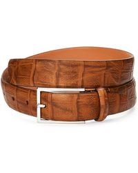 Duchamp - Leather Croc Embossed Belt - Lyst