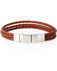 Fossil - Brown Leather Braided Strand Bracelet - Lyst