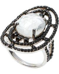 Bavna - Sterling Silver Black Spinel & Moonstone Ring Size 7.25 - Lyst