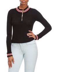 Derek Heart - Frill Neck Ribbed Zip Top - Lyst
