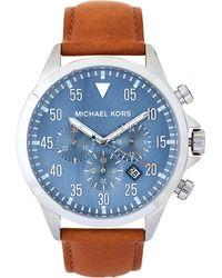 fbd17c37b9ed Lyst - Michael Kors Mk8616 Grey   Beige Gage Leather Strap Watch in ...