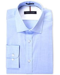 363e3de15 Tommy Hilfiger Slim-fit Non-iron Blue Check Dress Shirt in Blue for ...