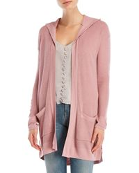 Pink Rose - Hooded Open Cardigan - Lyst