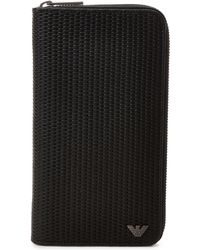 Armani Jeans - Black Woven Large Zip-around Wallet - Lyst