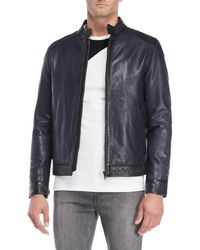 LTH JKT - Navy Vintage Racer Leather Jacket - Lyst
